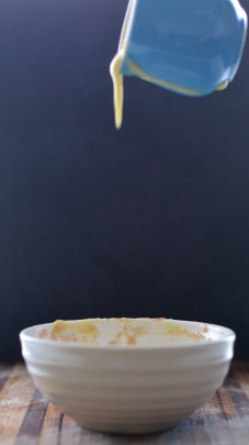 TIK_Spiced Rhubarb & Pear Crumble with Vanilla Custard - pouring 1